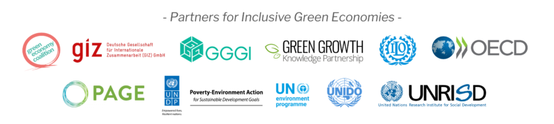 Partners for Inclusive Green Economies logo swarm May 2020