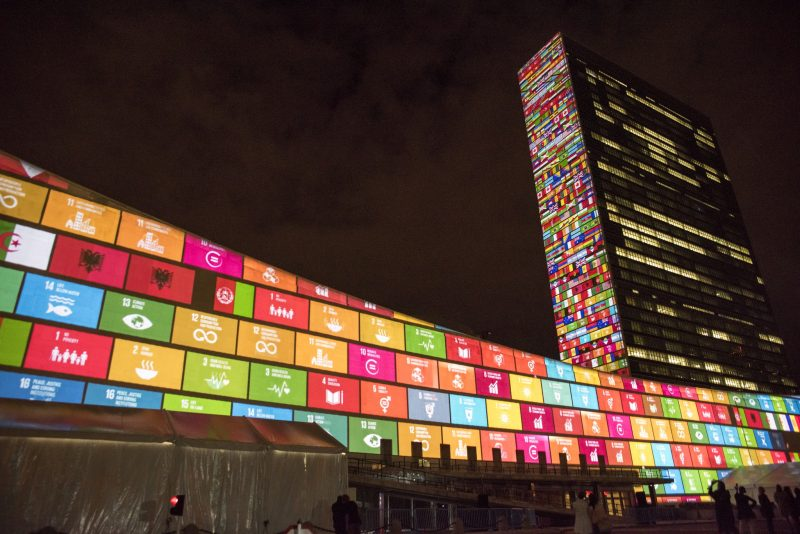 UNHQ with SDGs