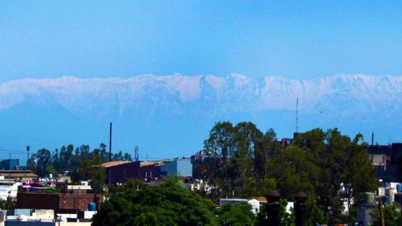 The Himalayas, visible from the rooftops of Jalandar over 200km away